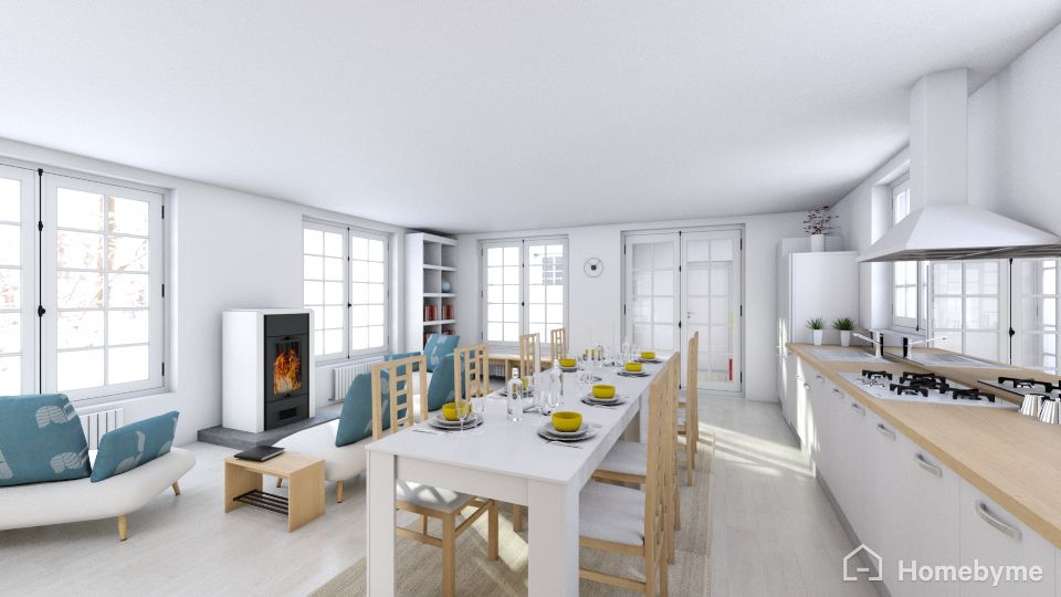 The big family room for cooking, eating and telling stories by the fire